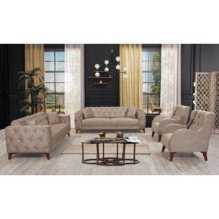Aldric 4 Piece Sleeper Living Room Set by Everly Quinn