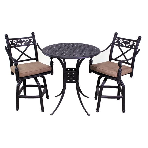 Baldwin 3 Piece Bar Height Dining Set with Cushions by California Outdoor Designs
