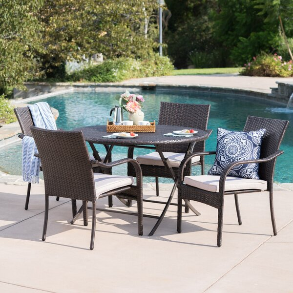 Hutsell Outdoor Wicker 5 Piece Dining Set with Cushions by Latitude Run