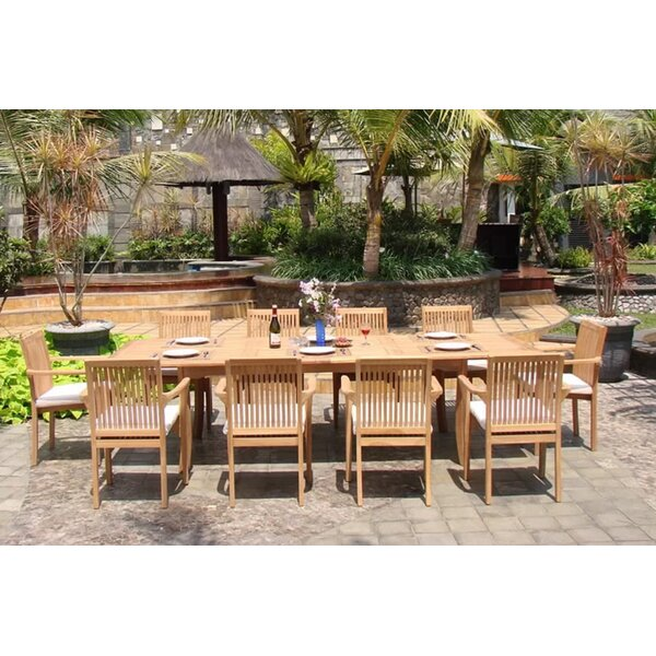 Agustin Luxurious 9 Piece Teak Dining Set by Rosecliff Heights