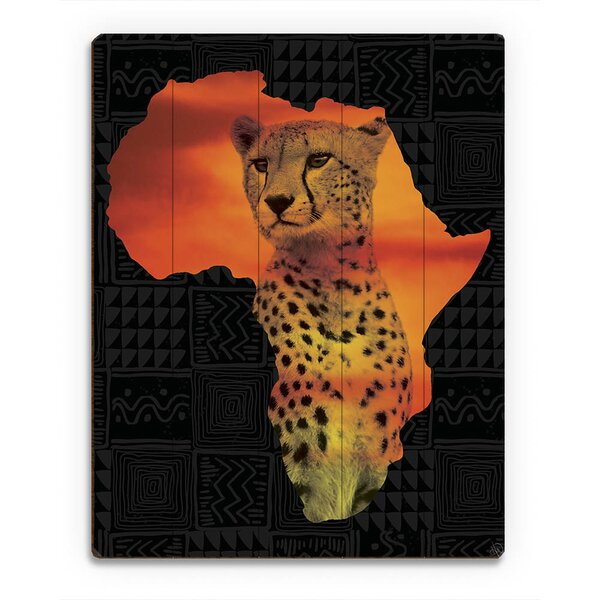 Africa Silhouette - Cheetah Graphic Art on Plaque by Click Wall Art