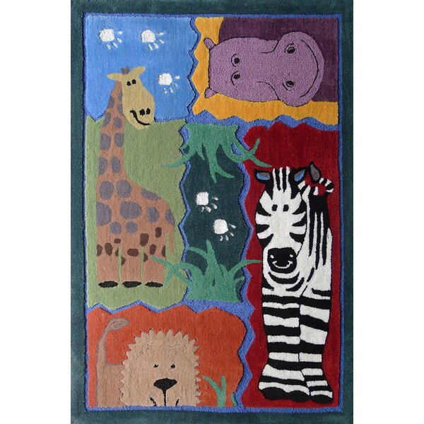 Hayhurst Wild Life Animals Hand-Tufted Green/Red Area Rug by Zoomie Kids