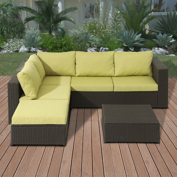 Damarion 4-Piece Rattan Sectional Seating Group with Cushions by Bayou Breeze