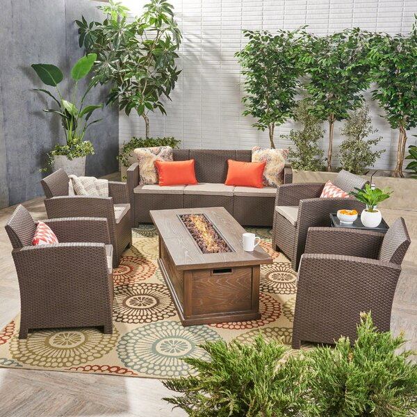 Chamberlain Outdoor 6 Piece Wicker Print Sofa Seating Group with Cushions by Alcott Hill