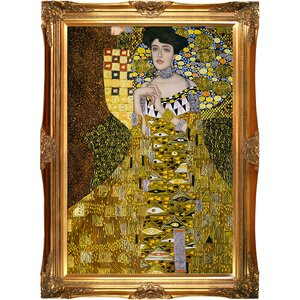 'Portrait of Adele Bloch Bauer I Metallic Embellished' by Gustav Klimt Framed Painting Print by La Pastiche