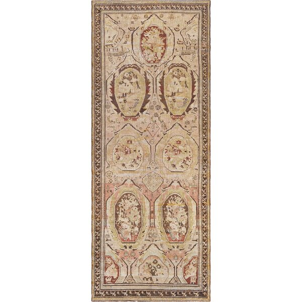 One-of-a-Kind Antique Karabagh Handwoven Wool Cream Indoor Area Rug by Mansour