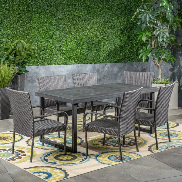 Patson Outdoor 7 Piece Dining Set by Wrought Studio