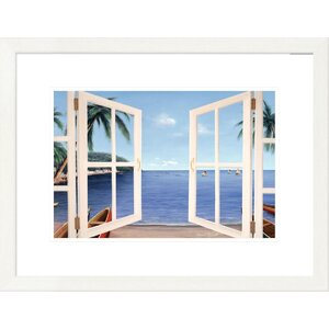 'Coastal Day Dreams Through Window' by Diane Romanello Framed Graphic Art by Global Gallery