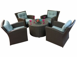 Vandewa 5 Piece Sunbrella Conversation Set with Cushions by Rosecliff Heights