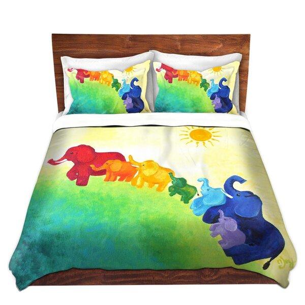 Gainsborough nJoy Art Elephant Rainbow Microfiber Duvet Covers by Zoomie Kids