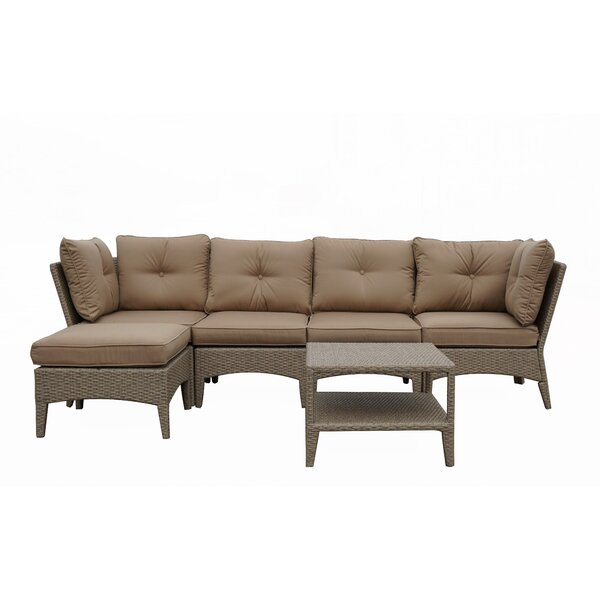 Koontz 6 Piece Rattan Sectional Seating Group with Cushion by Red Barrel Studio
