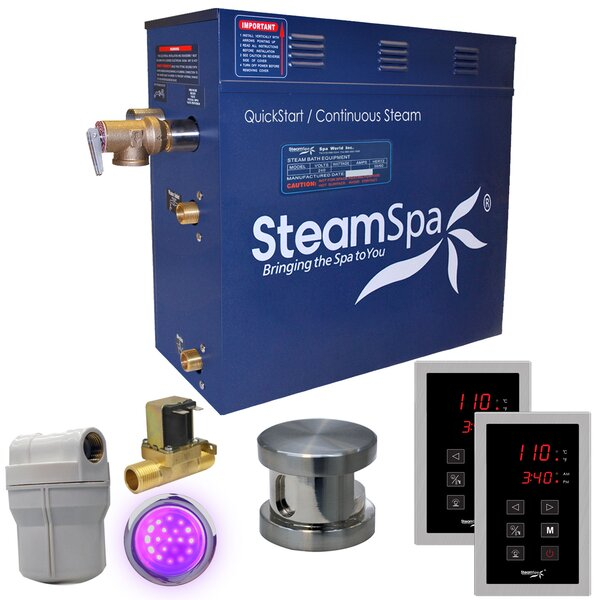 Royal 9 kW QuickStart Steam Bath Generator Package with Built-in Auto Drain by Steam Spa