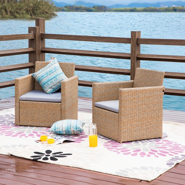 Karli 2 Piece Seating Group with Cushions by Highland Dunes