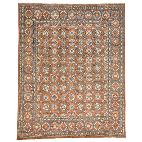 Afghan Ersari Beshir Hand-Knotted Orange Area Rug by Bloomsbury Market