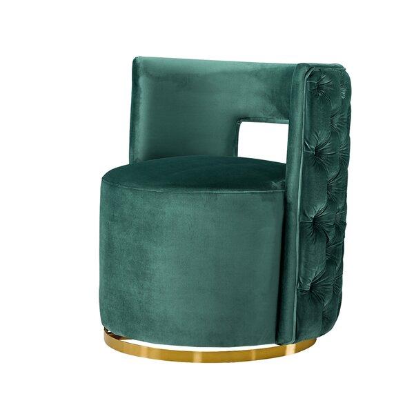 Burress Swivel Barrel Chair By Everly Quinn