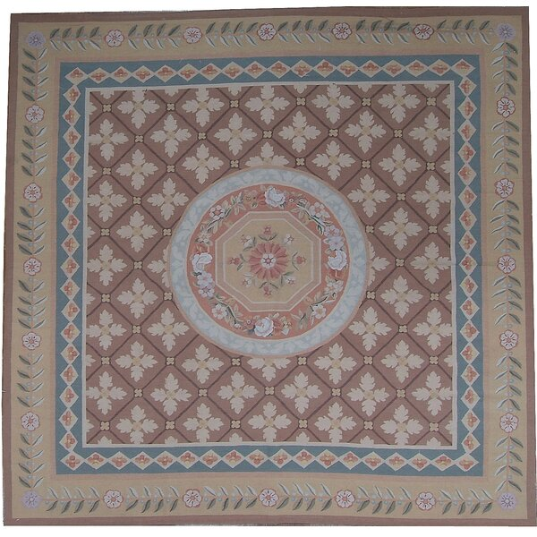 One-of-a-Kind Aubusson Hand-Woven Wool Beige/Brown/Blue Area Rug by Pasargad