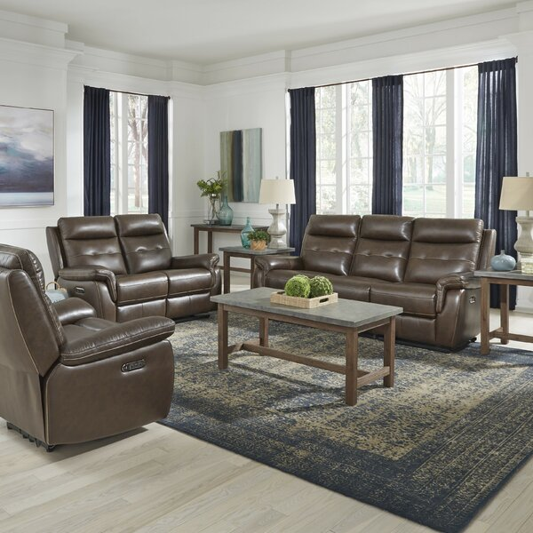 Sasheer Power Motion Reclining 3 Piece Leather Living Room Set by Latitude Run