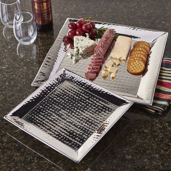 2 Piece Stainless Steel Hammered Serving Tray Set by Artisan
