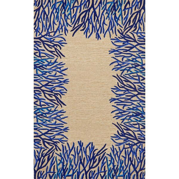 Bluford Cobalt Coral Border Blue/Beige Outdoor Area Rug by Highland Dunes