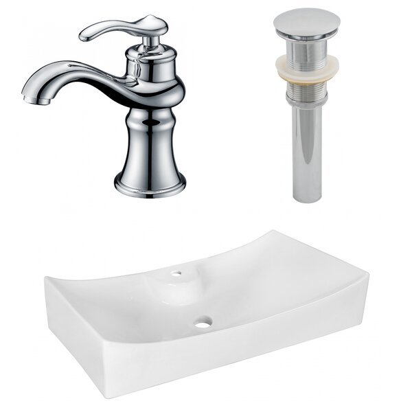 Above Counter Ceramic Specialty Vessel Bathroom Sink with Faucet