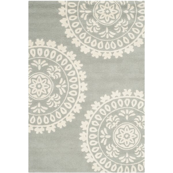 Harger Hand-Tufted Wool Gray/Ivory Area Rug by Charlton Home