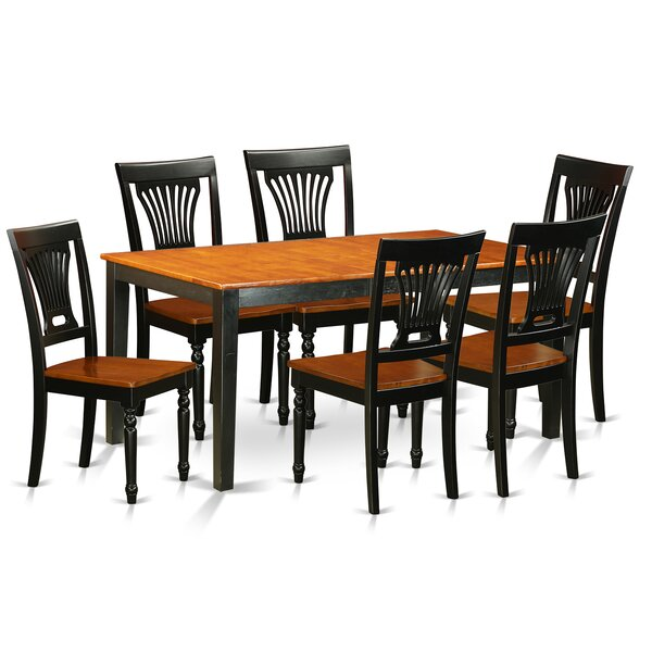 Pillar Traditional 7 Piece Wood Dining Set with Rectangular Table Top by August Grove
