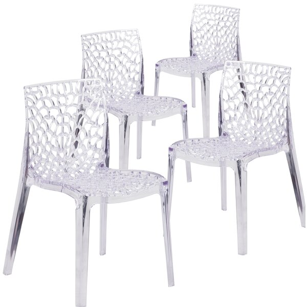 Armless Vision Series Transparent Stacking Chair (Set of 4) by Flash Furniture