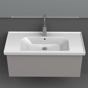 Coupon Frame Ceramic Rectangular Drop-In Bathroom Sink with Overflow ByCeraStyle by Nameeks