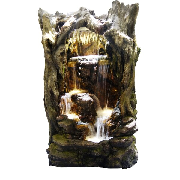 Rainforest Resin Waterfall Tree Fountain with LED Light by Alpine