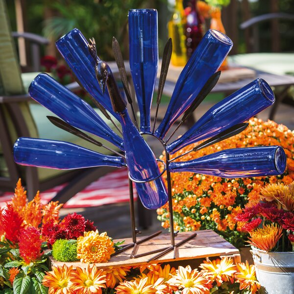 Peacock Bottle Holder Garden Stake by Evergreen Enterprises, Inc