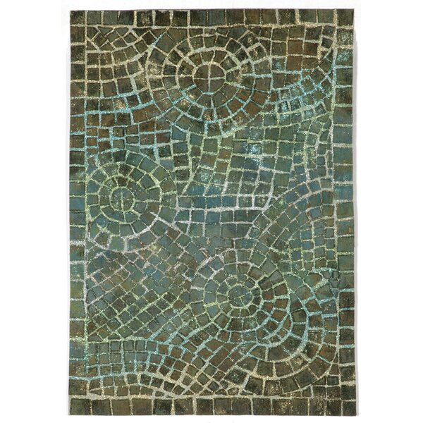 Alline Arch Tile Blue Indoor/Outdoor Area Rug by Bloomsbury Market