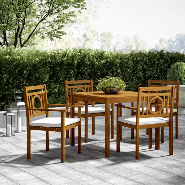 Caruthersville 5 Piece Dining Set with Cushions by Greyleigh