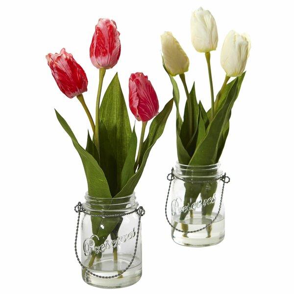 Tulip Floral Arrangement in Jar (Set of 2) by Gracie Oaks
