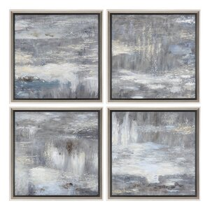 'Shades Of Gray' 4 Piece Framed Print Set (Set of 4) by Orren Ellis