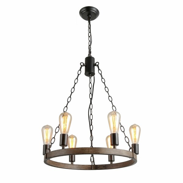 Ariyah 6 - Light Unique / Statement Wagon Wheel Chandelier with Wood Accents by Union Rustic Union Rustic