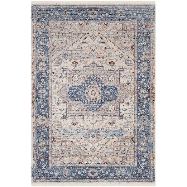 Mendelsohn Oriental Vintage Persian Traditional Blue/Cream Area Rug by Three Posts