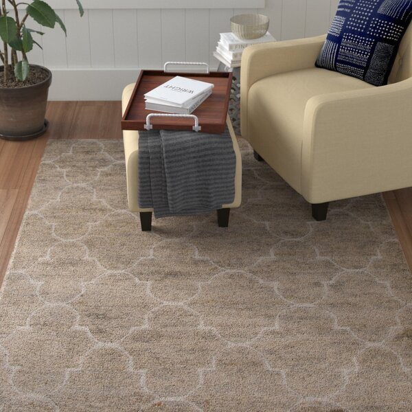 Archer Lane Hand-Woven Jute and Wool Gray/Ivory Area Rug by Red Barrel Studio