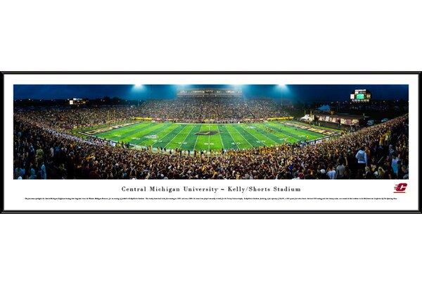 NCAA Central Michigan Football 50 Yard Line Framed Photographic Print by Blakeway Worldwide Panoramas, Inc