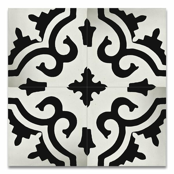 Tanger 8 x 8 Handmade Cement Tile in Black and White by Moroccan Mosaic