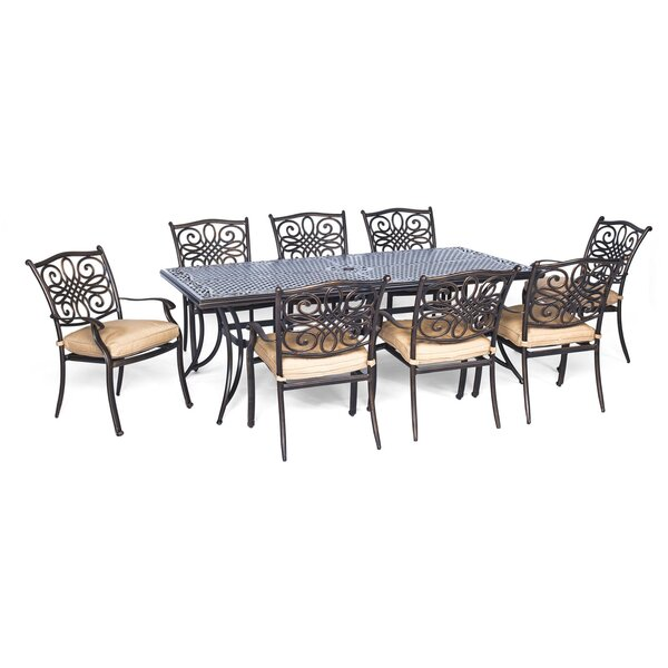 Lauritsen 9 Piece Oil Rubbed Bronze Dining Set with Cushion by Three Posts