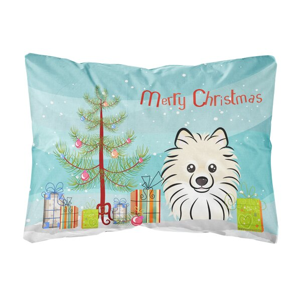 Neptune Christmas Tree and Pomeranian Fabric Indoor/Outdoor Throw Pillow by The Holiday Aisle