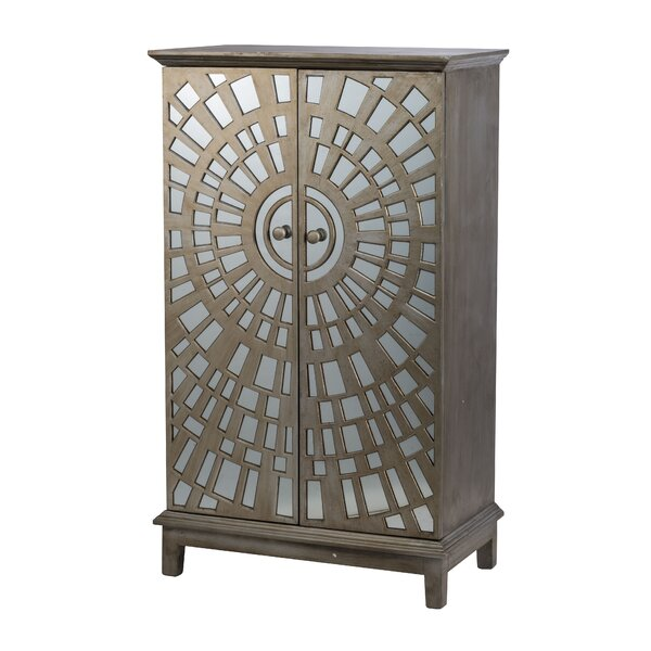 Bayviewpark Wood and Glass Front 2 Door Accent Cabinet by Bungalow Rose Bungalow Rose