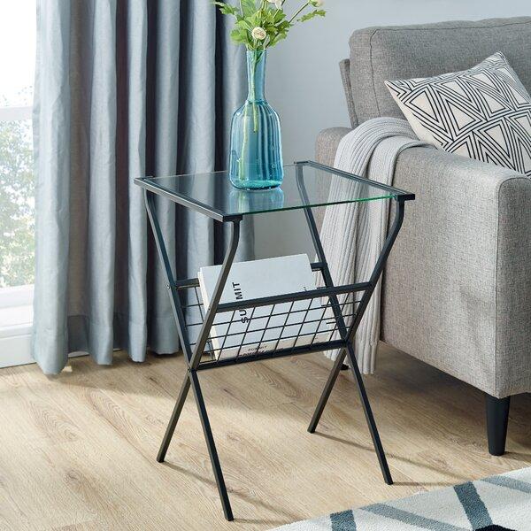 Glebe Glass Top Cross Legs End Table By Ebern Designs