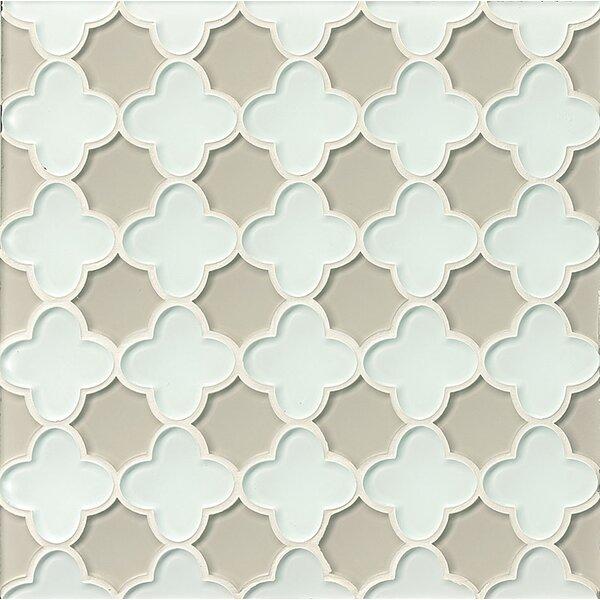 La Palma Glass Flora Mosaic Tile in White / Fog by Grayson Martin