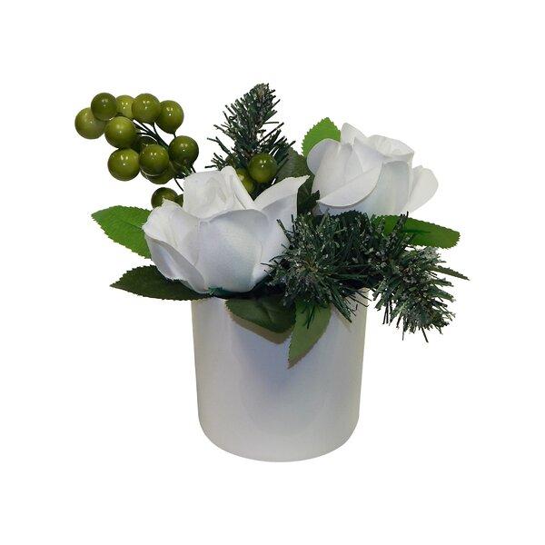 Simple White Christmas Rose Arrangement by Latitude Run