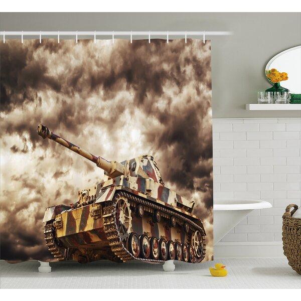 Fabric Tank Battle War Cloudy Shower Curtain by East Urban Home