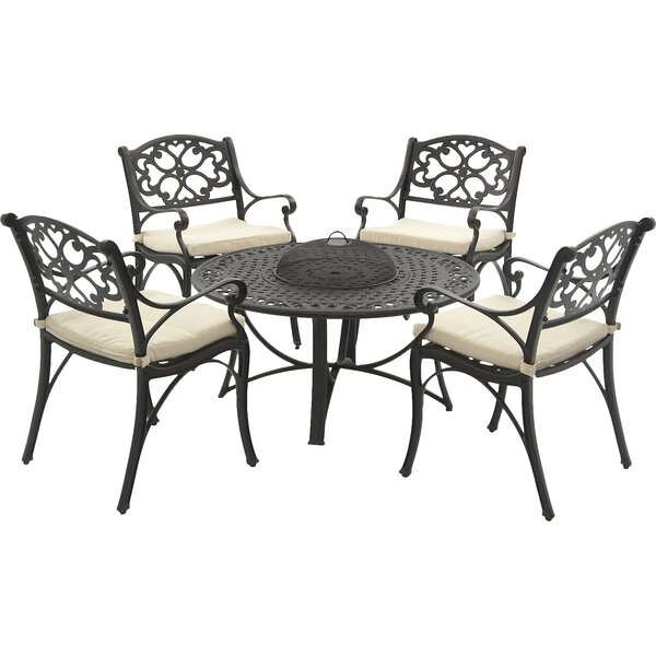 Oregon 5 Piece Dining Set with Cushion and Firepit by SunTime Outdoor Living