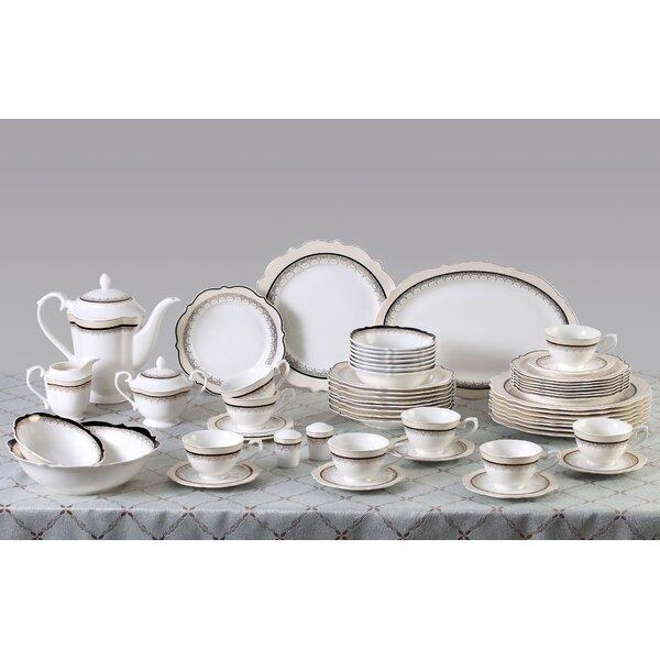 Dalilah 57 Piece Bone China Dinnerware Set, Service for 8