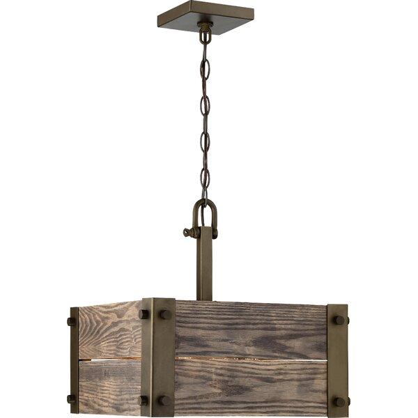 Cathey 4 - Light Unique / Statement Square / Rectangle Chandelier by Loon Peak Loon Peak