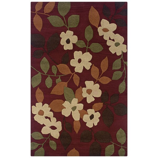 Tulsipur Hand-Tufted Burgundy Area Rug by Meridian Rugmakers